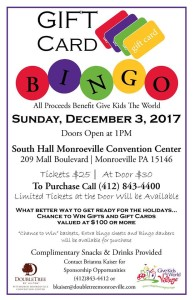 "Gift Card BINGO to Benefit ""Give Kids The World"" @ Monroeville Convention Center - South Hall 