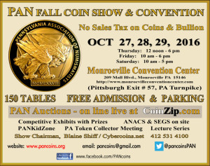 PAN Fall Coin Show @ Monroeville Convention Center | Monroeville | Pennsylvania | United States
