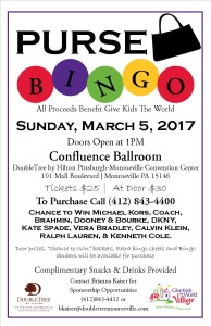 Purse BINGO  to Benefit Give Kids The World @ Confluence Ballroom - DoubleTree by Hilton Pittsburgh - Monroeville Convention Center | Monroeville | Pennsylvania | United States